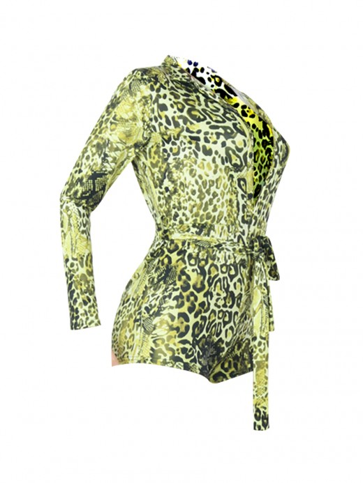 Surprising Yellow Jumpsuit Leopard Paint Long Sleeve For Ladies