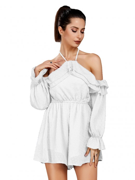 White Ruffled Halter Neck Short Jumpsuit Delightful Garment