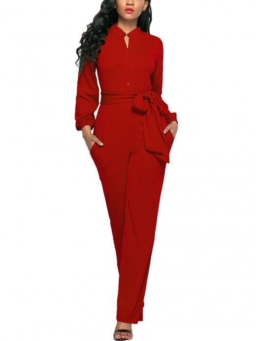 Flowing Red Tie Waist Jumpsuit Solid Color V-Neck Ladies