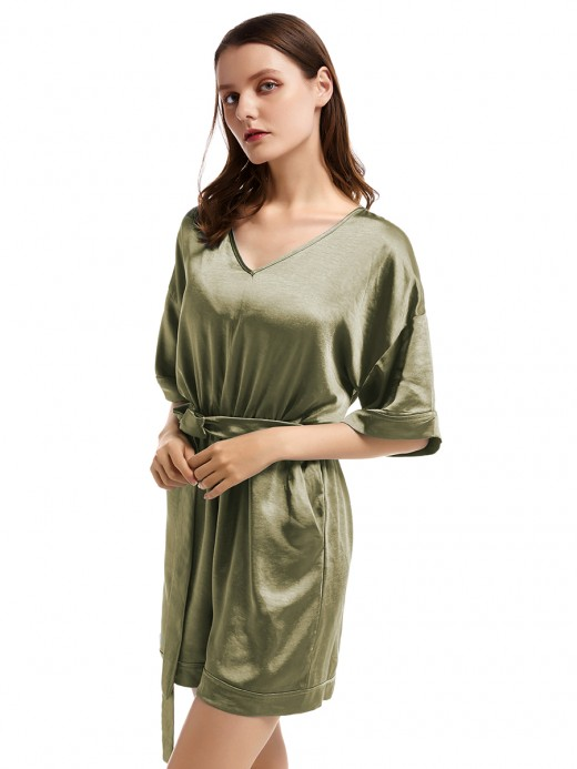 Beautifully Designed Army Green V Collar Jumsuit Solid Color