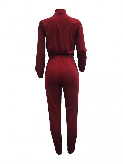 Versatile Red High Waist Jumpsuit Full Sleeve High Quality