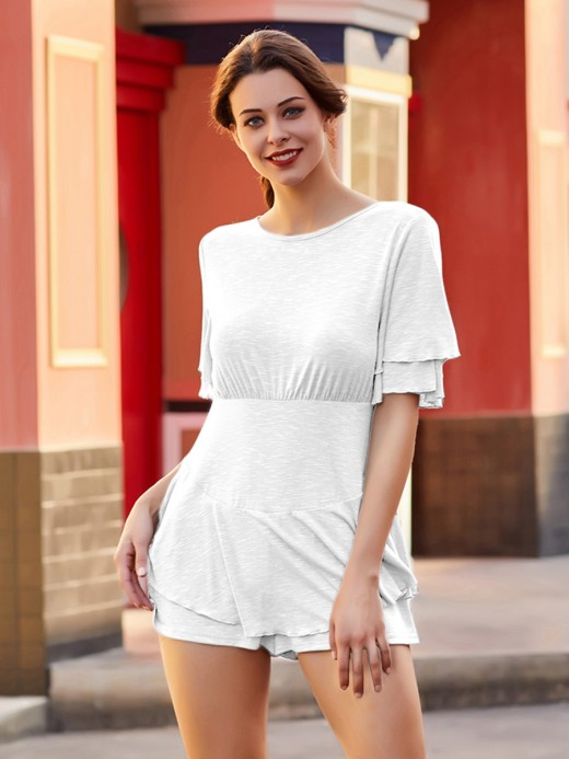 White Knit Double Sleeves Jumpsuit Solid Color Weekend Fashion