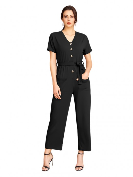 Glam Black Button Wide Leg Jumpsuit Short Sleeves Simplicity