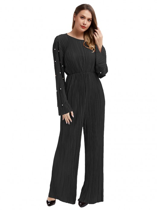 Sensual Curves Black Round Collar Jumpsuit Flare Sleeves Going Out Outfits
