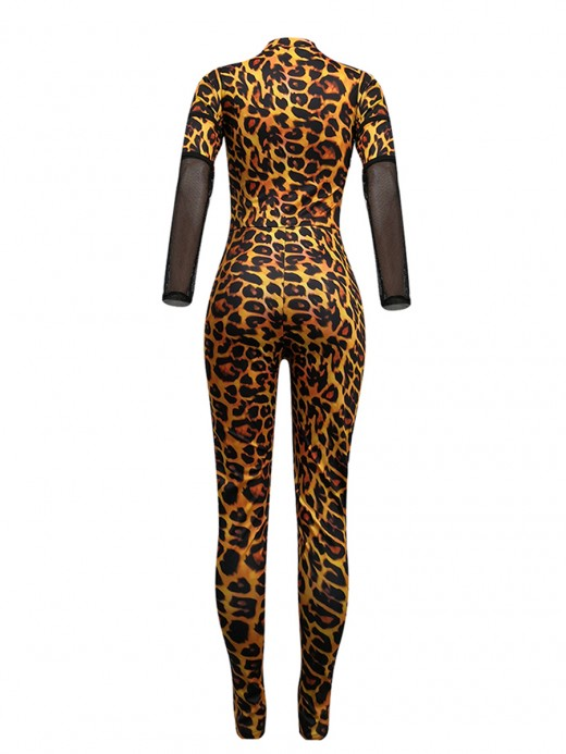 Stretchy Orange Sheer Mesh Leopard Pattern Jumpsuit Glamor Women