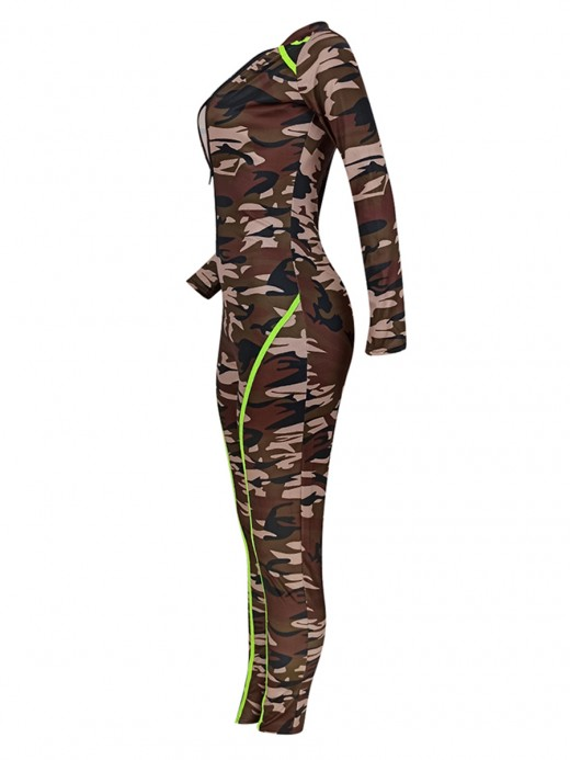 Marvellous Camouflage Print Long-Sleeved Jumpsuit Going Out Outfits
