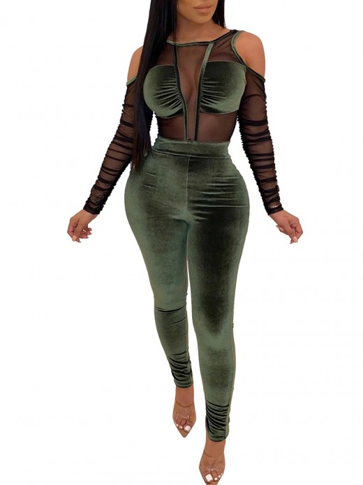 Honey Army Green High Rise Cold Shoulder Velvet Jumpsuit Natural