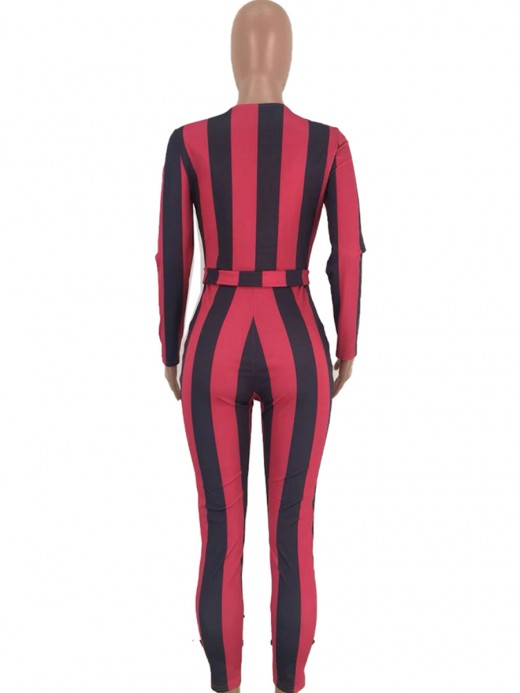 Feminine Red Jumpsuit Plunge Neck Tie Stripe Paint For Every Occasion