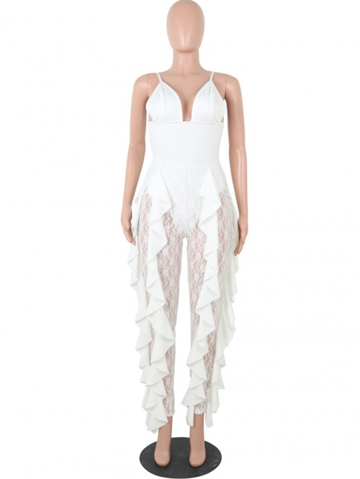 Lovely White Solid Color V-Neck Ruffle Jumpsuit Outdoor Activity
