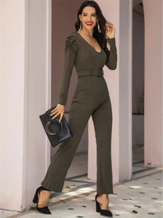 Loose Fit Army Green Long Sleeves Solid Color Belt Jumpsuit