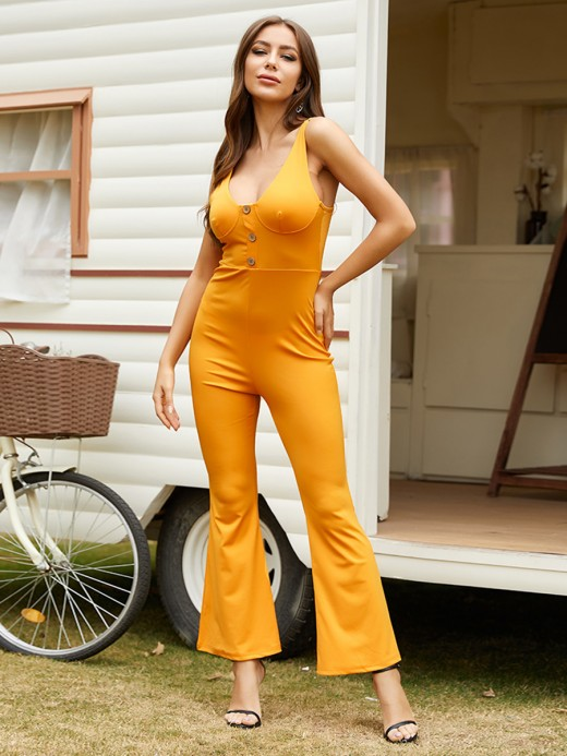 Classic Yellow Flared Leg Jumpsuit Backless Sling Women