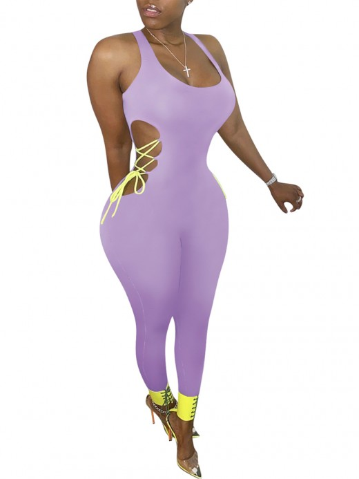 Spectacular Purple Hollow Out Romper Plunge Collar Visual Effect