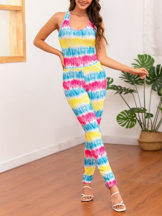 Contouring Jumpsuit Cross Back Straight Leg For Hanging Out
