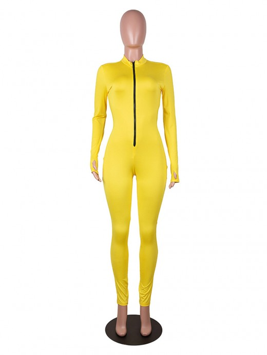 Attractive Yellow Tight Jumpsuit Mock Neck Solid Color For Woman