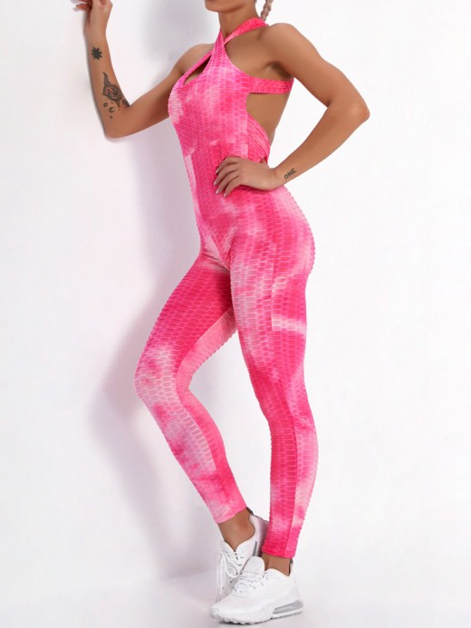 Pink Criss-Cross High Rise Tie-Dyed Romper For Female Runner