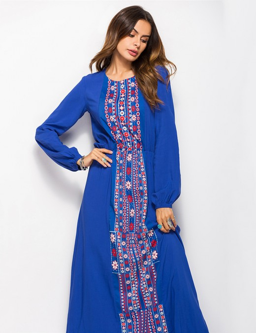 Charming Blue Ethnic Print Full Sleeves Maxi Dress Comfort Fit