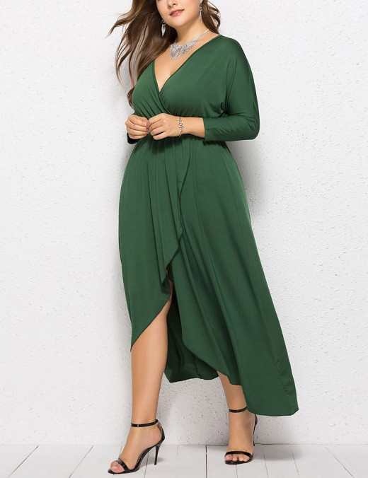 Holiday Dark Green Plunge Collar Big Size Plain Dress For Ladies