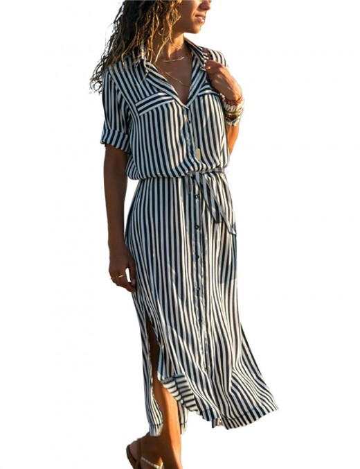 Comfort Black Singal Breasted Stripe Printing Maxi Dress