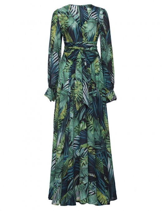 Womens V Neck Floral Printed Casual Greem Chiffon Maxi Dress