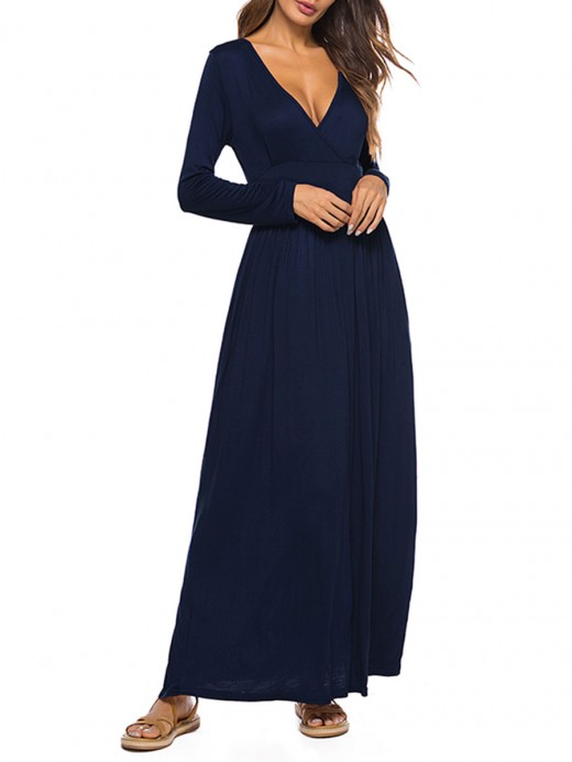 Curve Smoothing Blue Midi Dress Solid Color High Quality Feminine Confidence