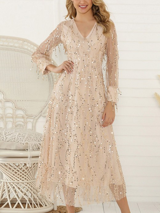 Striking Apricot Sequin Maxi Dress Tassel V-Neck Comfort Women