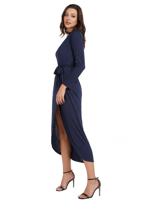 Alluring Purplish Blue Slit Hem Maxi Dress Tie Waist Plain