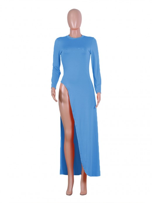 Eye Catch Blue Solid Color Round Neck Dress High Split Women's Fashion