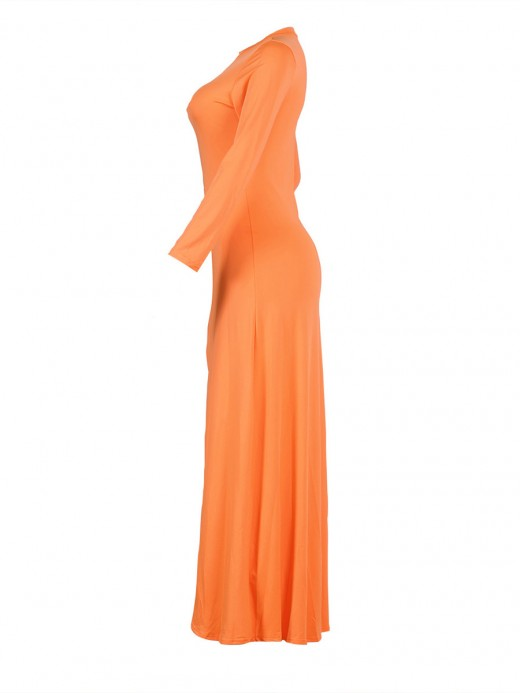 Causal Orange Long Sleeve High Split Dress Plain Women Clothing