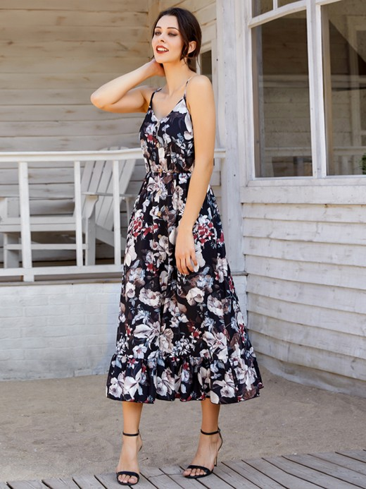 Glam Sling Maxi Dress Floral Pattern Fashion Style