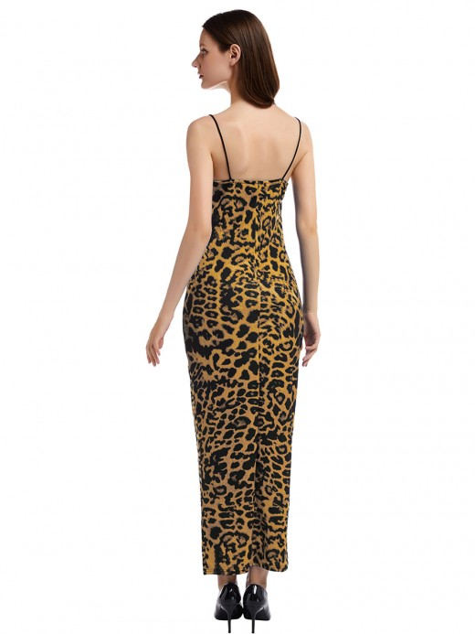 Dramatic Brown Leopard Paint Maxi Dress Open Back Latest Fashion