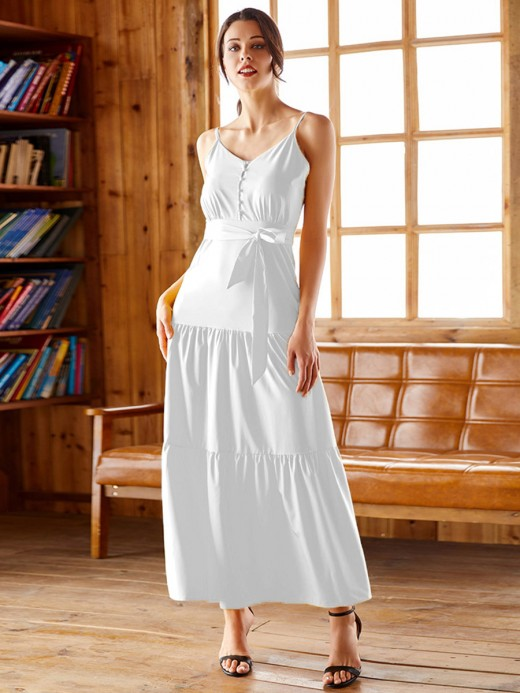 Luscious Curvy White Sling Maxi Dress Plus Size Button Unique