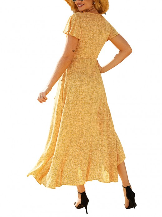 Colorful Yellow V-neck Maxi Dress Irregular Ruffle Hem
