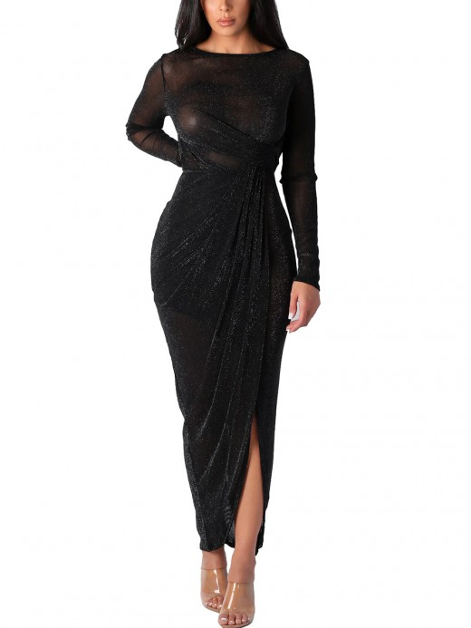 Fresh Black Sheer Mesh Maxi Dress Full Sleeve Feminine