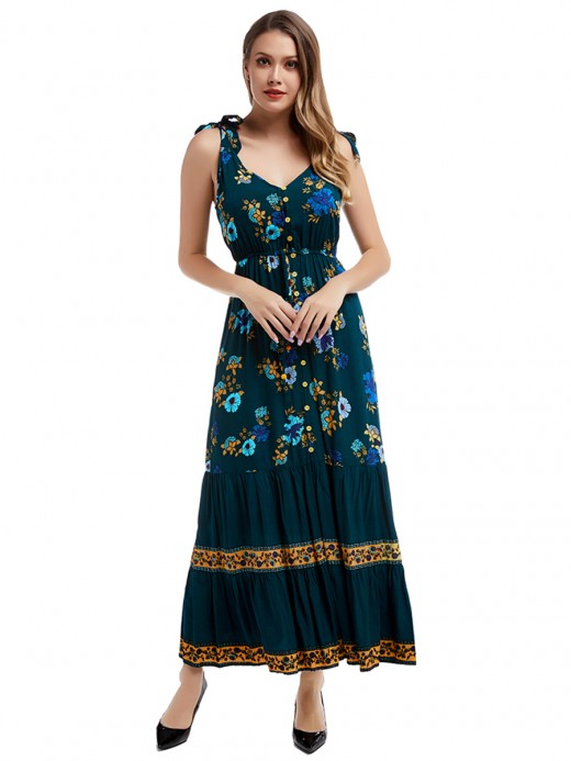 Romantic Navy Blue Sleeveless Maxi Dress Floral Printed