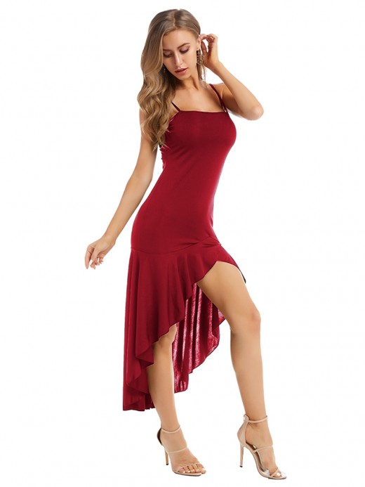Casually Red Solid Color Maxi Dress Sling For Party