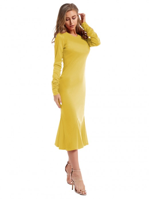 Luscious Curvy Yellow Maxi Dress Full Sleeve Crew Neck Outfits