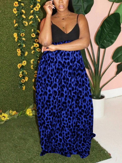 Fabulously Plunge Neck Leopard Paint Maxi Dress Form Fitting
