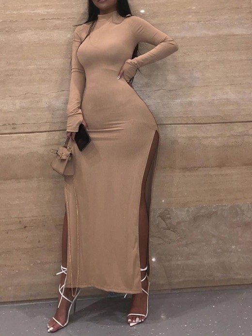 Brown Full Sleeve Maxi Dress Solid Color Unique Fashion