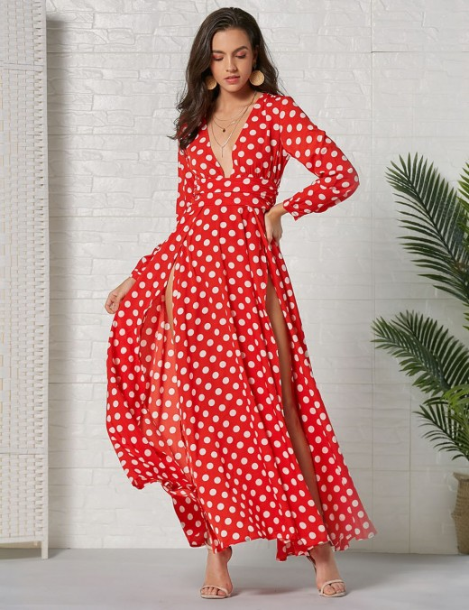 Red Long Sleeve V Neck Dots Print Bohemian Beach Holiday Long Dress Comfort Fabric