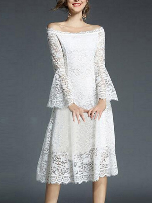 Refined White Long Sleeve A-Line Lace Wedding Dress Elegance