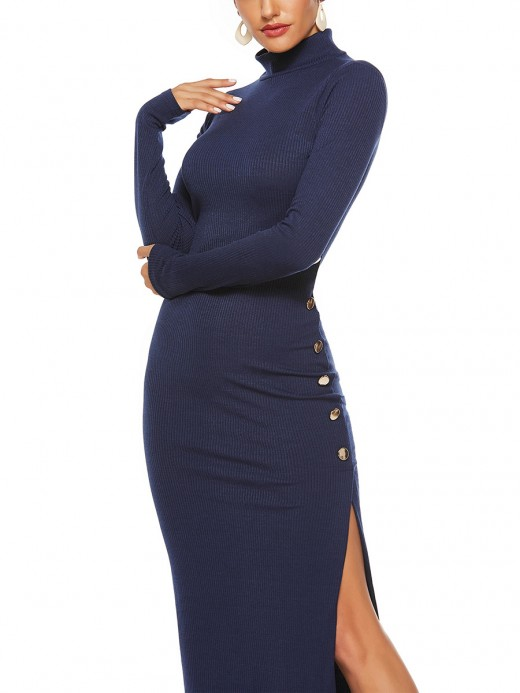Curve Smoothing Blue High Waist V-Neck Long Sleeves Long Dress Women Outfit