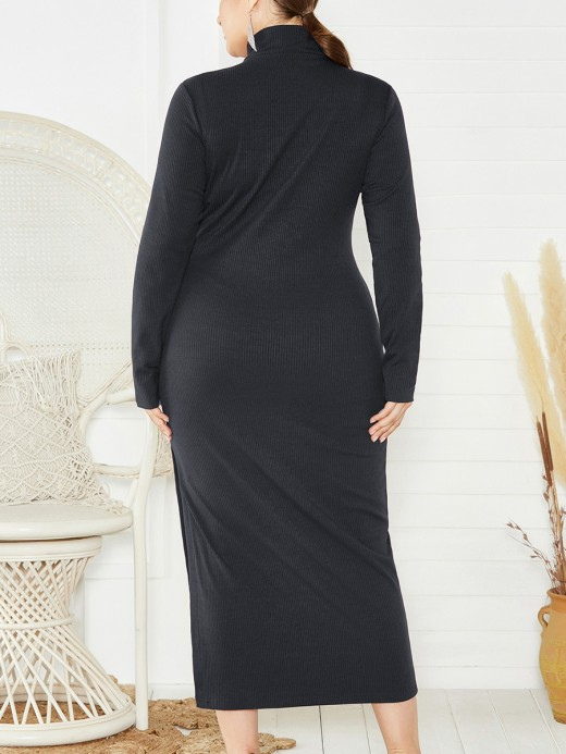 Fashionable Black Big Size Long Sleeves Split Sweater Dress Knit