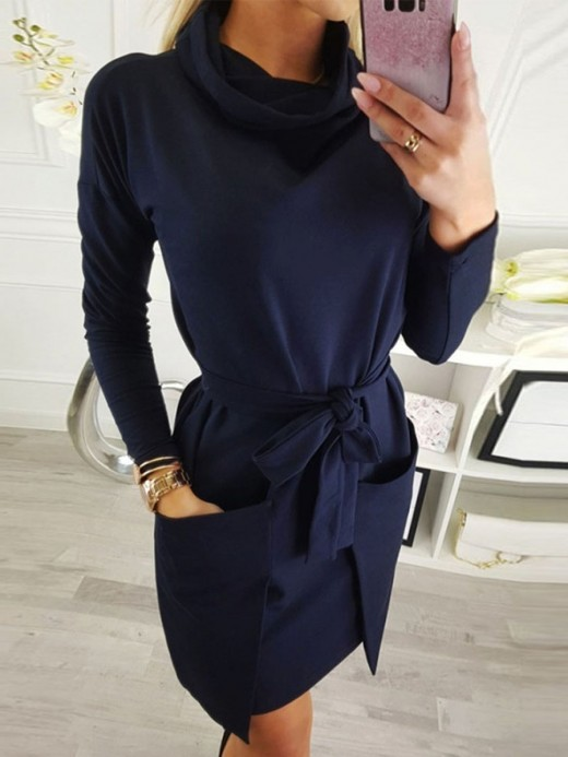 Sparkly Dark Blue Midi Dress Full Sleeve Tie Waist Stretch