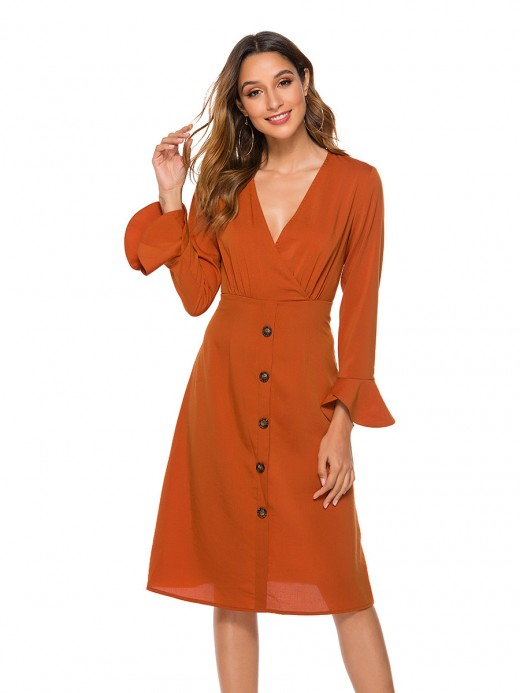 Laid-Back Orange High Waist Midi Dress Front Button Form Fit
