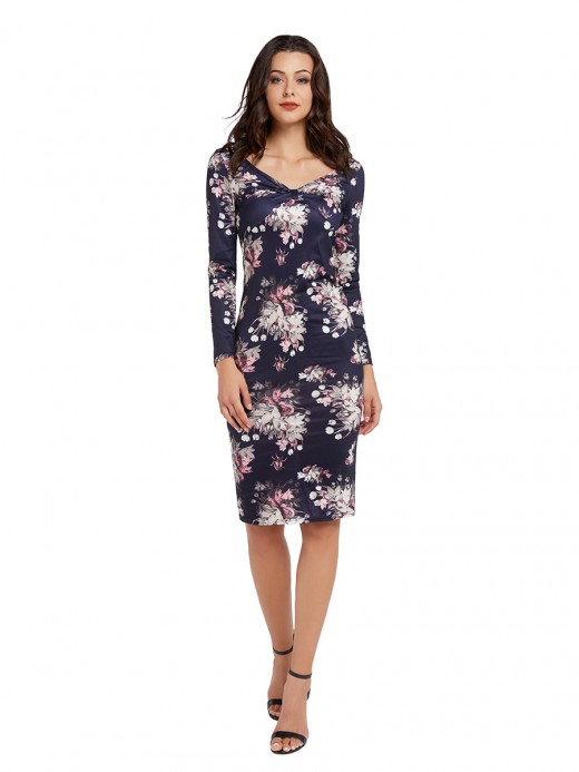 Soft Dark Blue Long Sleeve Floral Pattern Midi Dress Super Faddish