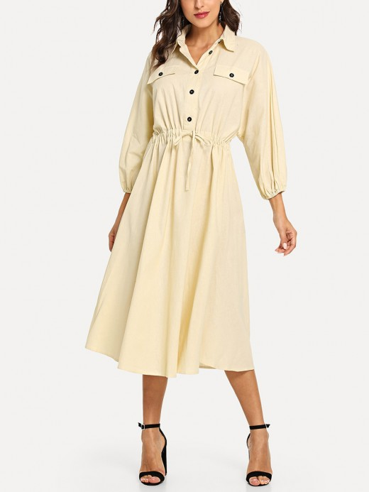 Structured Beige Lantern Sleeves Button Midi Dress For Women