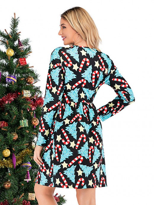 Alluring A-Line Midi Dress Christmas Print Smooth