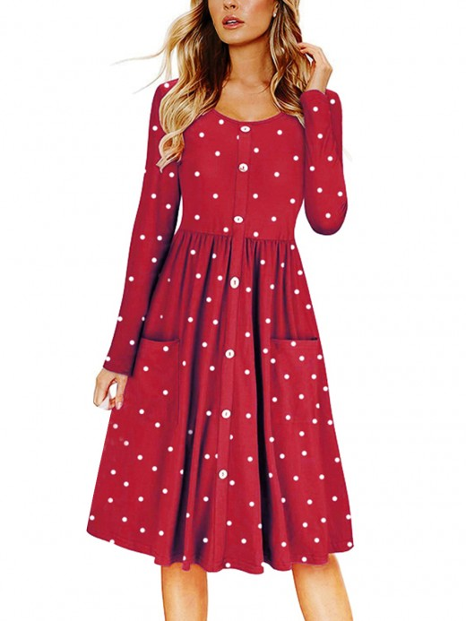 Sassy Wine Red Dot Pattern Midi Dress With Pockets Cheap Wholesale