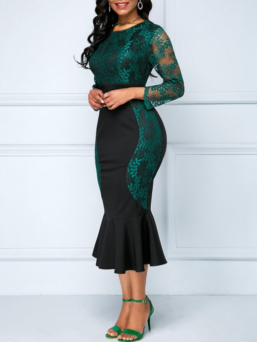 Leisure Green Back Zipper Midi Dress Large Size Formal Settings