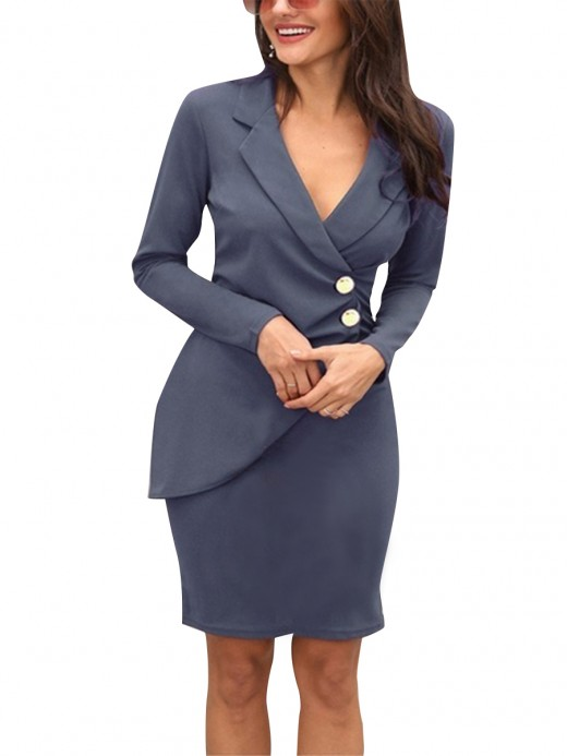 Bewitching Gray Long Sleeve Ruched Midi Dress Big Size Women Outfit